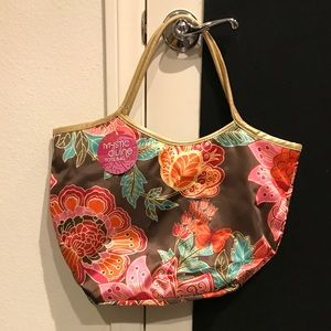 Lightweight brown tote bag with flowers/butterfly